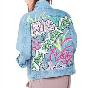 TopShop Moto Graffiti Distressed Denim Jacket